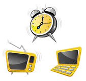 计算器时钟电视 库存例证
