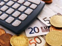 计算器欧元货币 库存照片