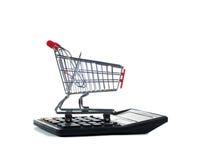 计算器用车运送购物 免版税图库摄影