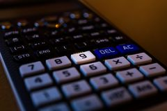 计算器的键盘的关键第九 图库摄影