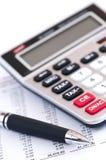 计算器笔税务 免版税库存照片