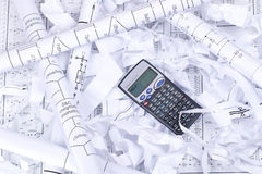 计算器纸张浪费 免版税库存图片