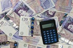 计算器货币英国 免版税库存照片