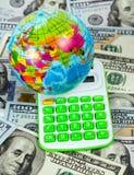 计算器铸造在空白的栈的概念经济 免版税库存图片