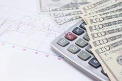计算器,与钞票的座标图纸10美元, 50美元 免版税库存图片