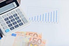 计算器,在桌上的graphyc 免版税库存图片