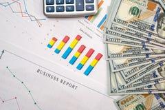 计算器,美元钞票 免版税库存图片