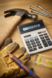 计算器费用提供经费给工具 库存照片