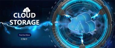 计算在线式存储未来派样式的云彩 向量例证