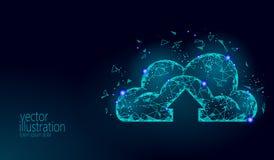 计算在线式存储的云彩低多 多角形未来现代互联网企业技术 蓝色发光的全球性数据 皇族释放例证