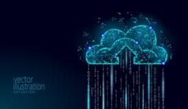 计算在线式存储的云彩低多 多角形未来现代互联网企业技术 蓝色发光的全球性数据 向量例证