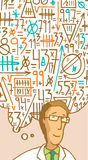 计算复杂算术想法的科学家 库存照片