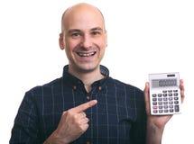 计算微笑的秃头的人 图库摄影