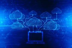计算数字式例证,技术背景的云彩 库存图片