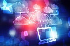 计算数字式例证,技术背景的云彩 库存照片