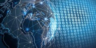 计算未来派的云彩,网络结构和电信构思设计,与地球地球的全世界连接 向量例证