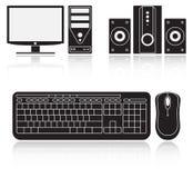 计算机、音象系统、键盘和老鼠象  皇族释放例证