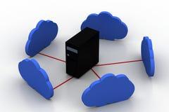 计算机与云彩的服务器网络 免版税库存图片