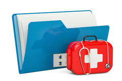 计算机与USB闪光驱动、服务和补救的文件夹象, 图库摄影