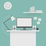 计算机书桌,工作场所 皇族释放例证