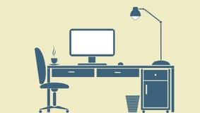 计算机书桌 免版税库存图片