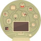 计算机作为为事务的一个工具 向量例证