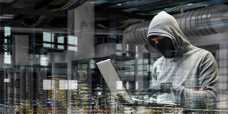 计算机保密性攻击 混合画法 免版税图库摄影