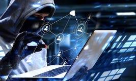 计算机保密性攻击 混合画法 图库摄影