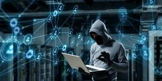 计算机保密性攻击 混合画法 库存图片