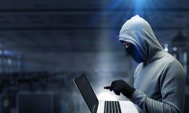 计算机保密性攻击 混合画法 免版税库存照片