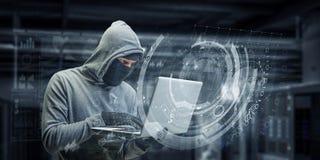计算机保密性攻击 混合画法 免版税库存图片