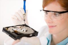 计算机光盘工程师女性困难维修服务&# 免版税库存照片