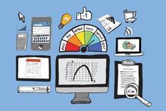 计算机和企业例证 库存例证