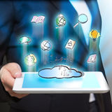 计算机和社会网络共享 免版税库存照片