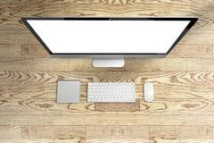 计算机和键盘,与黑屏的老鼠顶视图在wo 库存图片