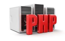 计算机和PHP (包括的裁减路线) 库存照片