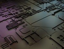计算机国际庞克未来派电子线路背景 超现实的3D例证 免版税库存照片