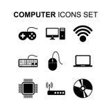 计算机图标设置了 平的设计传染媒介例证 库存照片