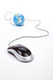 计算机地球鼠标 免版税库存图片