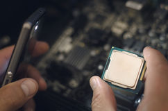 计算机处理器, CPU芯片 库存图片