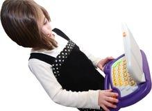 计算机女孩查出 免版税库存照片