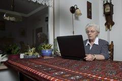 计算机她的看起来老妇人的膝上型计&# 库存照片