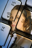 计算机妇女 图库摄影