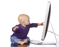 计算机婴儿键入 免版税库存图片