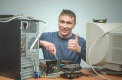 计算机安装工 计算机技术员工程师 3d例证服务支持 库存照片