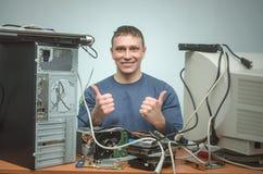计算机安装工 计算机技术员工程师 3d例证服务支持 免版税库存图片