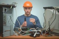 计算机安装工 计算机技术员工程师 3d例证服务支持 库存图片