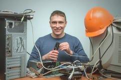 计算机安装工 计算机技术员工程师 3d例证服务支持 免版税图库摄影