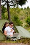 计算机室外帐篷 库存照片