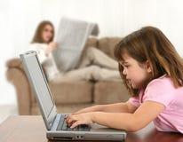 计算机家庭时间 库存图片
